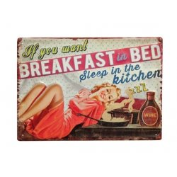 "Kovinska tablica ""Breakfast in bed"""